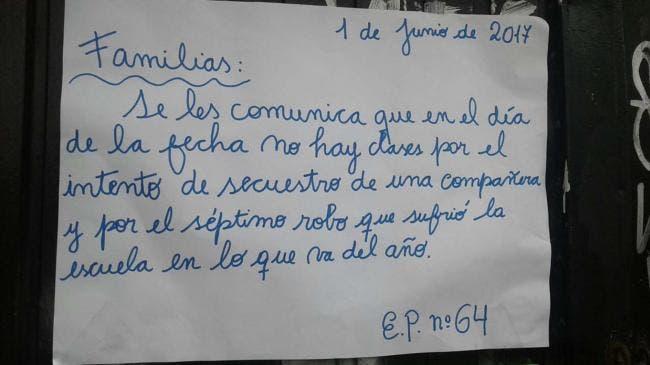 Escuela suspendió las clases tras el intento de secuestro de una maestra