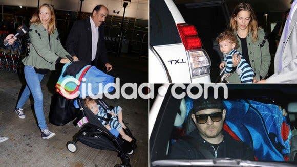 Luisana Lopilato y Michael Bublé junto a sus dos hijos, llegaron a la Argentina