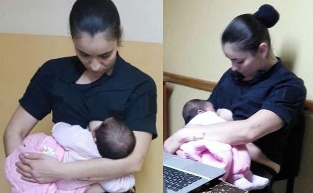 Se viraliza imagen de una policía amamantando a una bebé en Argentina