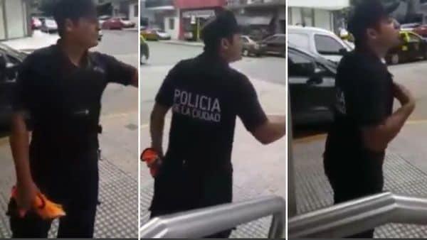 Un policía fue filmado echando al
