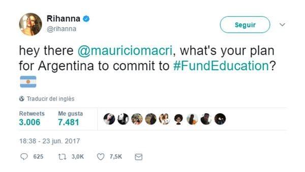 Rihanna le hizo un pedido a Macri por la educación pública