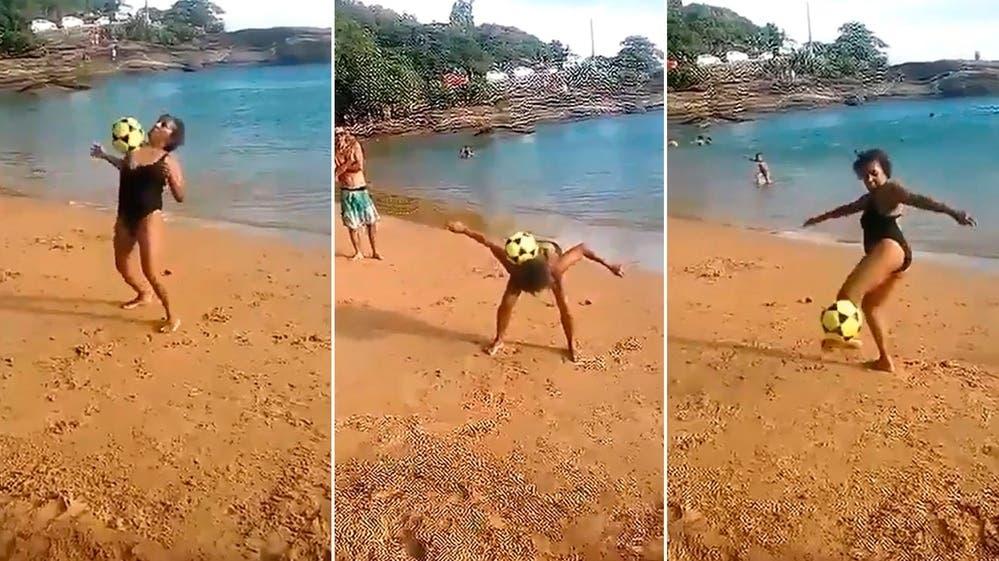 Esta abuela la rompe haciendo jueguitos con la pelota — Viral