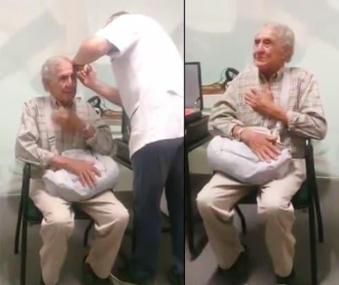 El llanto de un abuelo riojano en el momento que vuelve a oir luego de 38 años — Emocionante