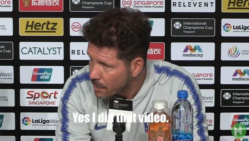 Simeone aclara el audio que se filtró en el Mundial sobre Messi