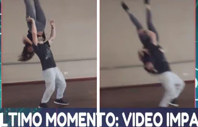 Tremenda caída de Jujuy Jiménez en un ensayo del Bailando