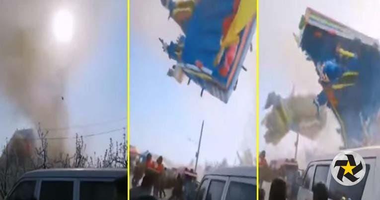 Castillo inflable sale volando por torbellino; dos niños perdieron la vida