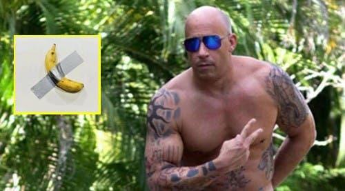 Vin Diesel parodió obra de arte de banana sólo con una toalla