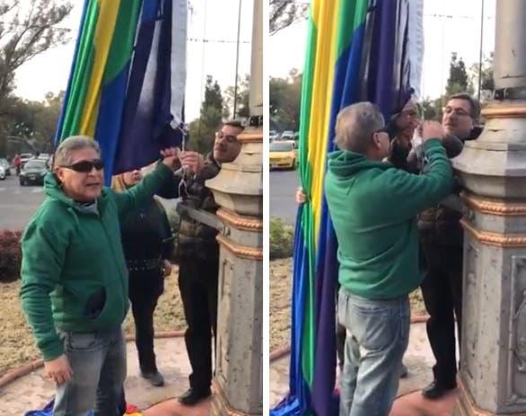 Veteranos de guerra cordobeses intentaron sacar la bandera del orgullo que había izado el intendente